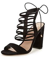 Charlotte Strappy Block Heel Sandals - Black