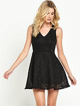 GUESS ADELIA LACE SKATER DRESS