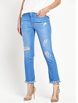 Extreme Fray Distressed Slim Leg Jean