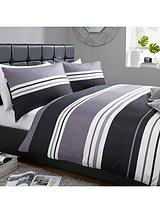Stripe Print Duvet Set - Grey/Black