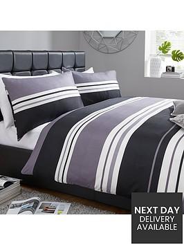 stripe-print-duvet-set-greyblack