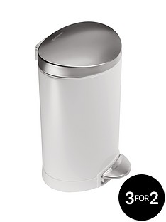 simplehuman-6-litre-semi-round-stainless-steel-pedal-bin-in-white
