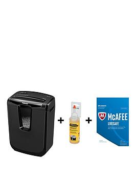 Fellowes Powershred M7C Cross Cut Shredder With Free Shredder Performance Oil And Mcafee Livesafe 2017 Security.