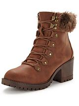Abigail Faux Fur Lace Up Boot - Tan
