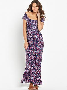 v-by-very-shirred-waist-floral-maxi-dress-blue-ditsy-floral-print