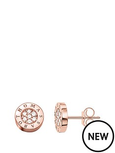 thomas-sabo-classic-logo-rose-gold-plated-stud-earrings