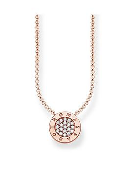 Thomas Sabo Classic Logo Pendant Necklace In Rose Gold