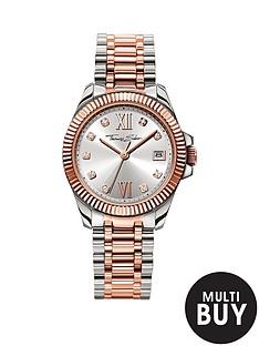 thomas-sabo-divine-silver-tone-dial-two-tone-stainless-steel-silver-amp-rose-tone-bracelet-ladies-watchnbspplus-free-karma-bead-bracelet