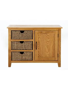 London Seagrass Ready Assembled Compact Oak Sideboard