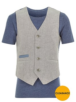 river-island-boys-ecru-waistcoat-and-t-shirt-set
