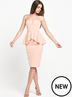 rare-strappy-peplum-midi-dress