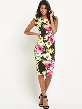 ax-paris-floral-cap-sleeve-midi-dress