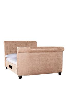 Stowe Fabric Tv Bed Frame With Mattress Options (Buy And Save!)  Bed Frame With Memory Mattress