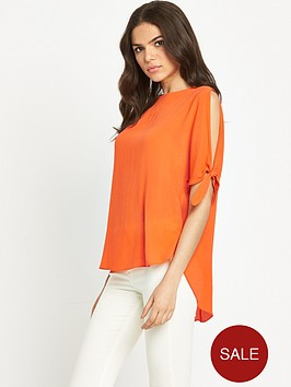 river-island-tie-sleeve-top-bright-orange