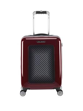 ted-baker-herringbone-burgundy-4-wheel-hard-cabin-case