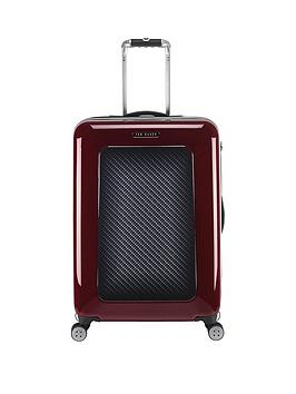 ted-baker-herringbone-burgundy-4-wheel-hard-medium-case