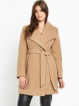 Belted Fit and Flare Coat - Camel