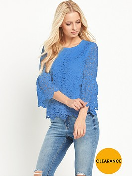 v-by-very-lace-fluted-sleeve-top