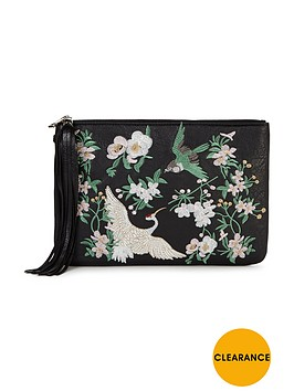miss-selfridge-embroidered-clutch-bag-black