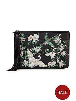 miss-selfridge-embroidered-clutch-bag-black