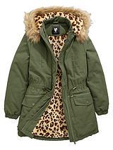 Girls Animal Faux Fur Lined Parka