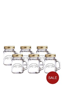 kilner-set-of-6-mini-handled-jars-ndash-140ml-capacity