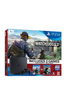 playstation-4-slim-1tb-console-with-watch-dogs-and-watch-dogs-2-plus-optional-extra-dualshock-v2-controller-andor-12-months-psn