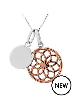 the-love-silver-collection-sterling-silver-and-rose-gold-plated-filigree-disc-personalised-disc-pendant
