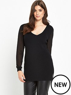 so-fabulous-chiffon-sleeve-v-neck-knitted-dress