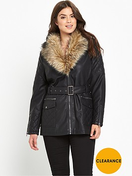v-by-very-curve-long-line-fur-trim-pu-jacket