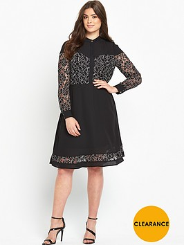 v-by-very-curve-mono-lace-insert-shirt-dress