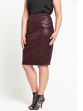so-fabulous-coated-zip-front-skirt-burgundy