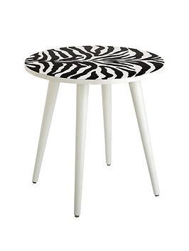 Teddy Side Table  Zebra Print