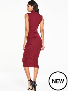v-by-very-roll-neck-ruched-midi-dressnbsp