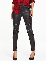 Coated Zip Knee Biker Trousers - Black