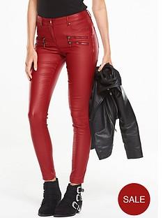v-by-very-multi-zip-coated-biker-jean-red