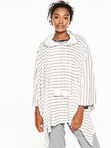 Luxe Lounge Poncho - Grey Stripe