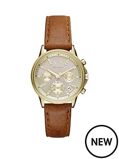 armani-exchange-armani-exchange-gold-dial-chronograph-light-brown-leather-strap-ladies-watch