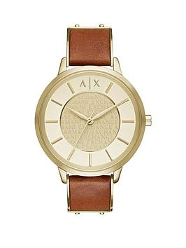 Armani Exchange Armani Exchange Gold Dial Light Brown Leather Strap Ladies Watch