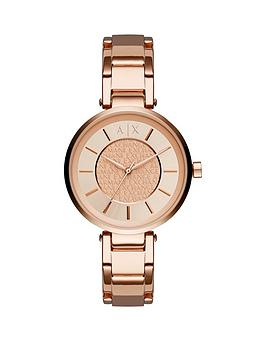 Armani Exchange Armani Exchange Rose Gold Dial And Rose Gold Ip Plated Bracelet Ladies Watch