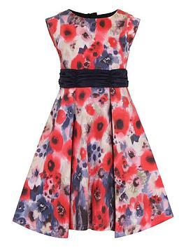 little-misdress-girls-poppy-print-bow-waist-dress