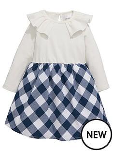 mini-v-by-very-girls-frill-neck-jersey-check-dress