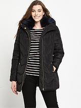 Short Padded Belted Coat - Black