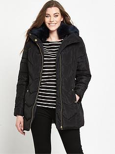 v-by-very-curve-short-padded-belted-coat-black