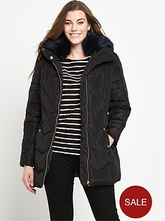 v-by-very-curve-short-padded-belted-coat-black