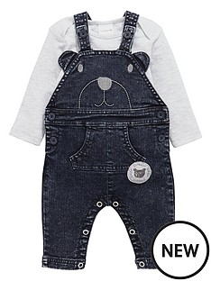 ladybird-baby-boys-acid-wash-denim-dungaree-and-bodysuit-set
