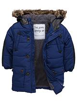 Boys PU Trim Padded Coat