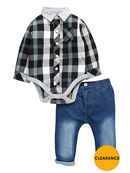 ladybird-baby-boys-smart-shirt-bodysuit-and-stretch-skinny-jeans-set