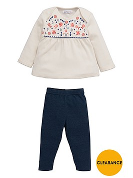 ladybird-baby-girls-yoke-print-top-and-marl-leggings-set-2-piece