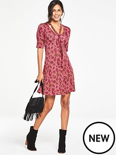 v-by-very-petite-tie-neck-tea-dress